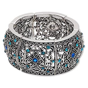 bracelet, stretch, glass rhinestone and antique silver-finished pewter (zinc-based alloy), blue and blue ab, 32.5mm wide with diamond and swirl design, 6-1/2 inches. sold individually.