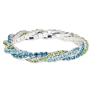 bracelet, stretch, glass rhinestone and silver-plated brass, aqua blue / mediterranean blue / green, 9mm wide braided cupchain, 7 inches. sold individually.