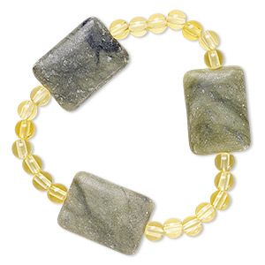 bracelet, stretch, green serpentine (natural) and acrylic, yellow, 5mm round and 25x18mm puffed rectangle, 6-1/2 inches. sold individually.