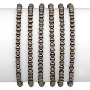 bracelet, stretch, gunmetal-coated plastic, 4mm round, 7 inches. sold per pkg of 6.