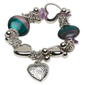 bracelet, stretch, lampworked glass / silver-coated plastic / steel, purple and green with silver-colored foil, nugget / 24x22mm puffed heart / 25mm puffed flat round, 7-1/2 inches. sold individually.