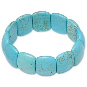 bracelet, stretch, magnesite (dyed / stabilized), blue-green, 22x18mm double-drilled domed rectangle, 7 inches. sold individually.