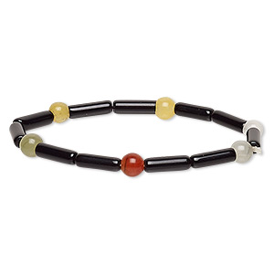 bracelet, stretch, multi-gemstone (natural / dyed / heated) and glass, multicolored and opaque black, 6-7mm round and 12x4mm-13x5mm round tube, 6 inches. sold individually.