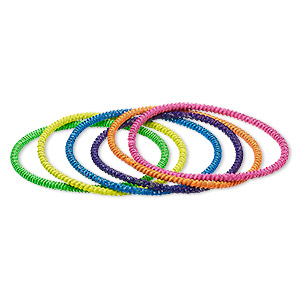 bracelet, stretch, painted steel, assorted neon colors, 3mm twisted coil, 7 inches. sold per pkg of 6.