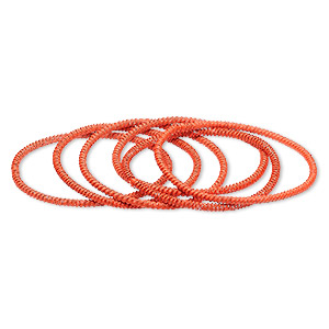 bracelet, stretch, painted steel, orange, 3mm twisted coil, 7 inches. sold per pkg of 6.
