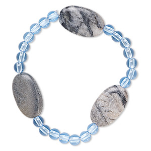 bracelet, stretch, picasso marble (natural) and acrylic, blue, 5mm round and 24x14mm-25x15mm flat oval, 6-1/2 inches. sold individually.