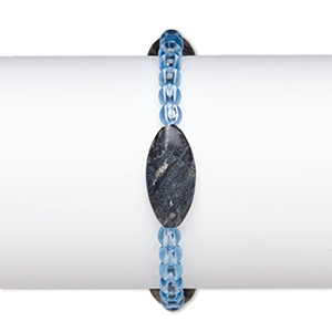 bracelet, stretch, picasso marble (natural) and acrylic, blue, 5mm round and 25x12mm-26x13mm puffed marquise, 6-1/2 inches. sold individually.