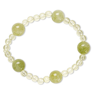 bracelet, stretch, quartz (dyed) and acrylic, green and light green, 5mm and 12mm round, 6 inches. sold individually.