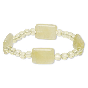 bracelet, stretch, quartz (dyed) and acrylic, yellow-green, 5-6mm round and 18x13mm puffed rectangle, 6-1/2 inches. sold individually.