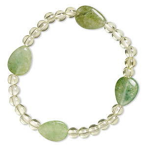 bracelet, stretch, quartz (dyed), green and light green, 5mm round and 16x12mm flat teardrop, 6-1/2 inches. sold individually.