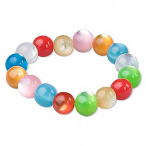 bracelet, stretch, resin, multicolored, 12mm round, 5-1/2 inches. sold individually. minimum 4 per order.