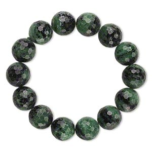 bracelet, stretch, ruby in zoisite (natural), 15-16mm faceted round, 7 inches. sold individually.