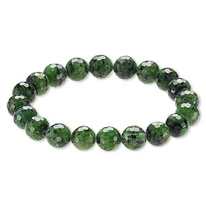 bracelet, stretch, ruby in zoisite (natural), 9-10mm faceted round, 8 inches. sold individually.