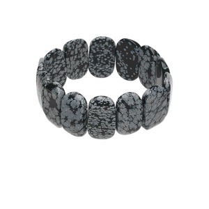 bracelet, stretch, snowflake obsidian (natural), 24x14mm rectangle, 7-1/2 inches. sold individually.