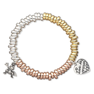 bracelet, stretch, sterling silver / gold- / rose gold-finished sterling silver, 7x3mm rondelle with 15x13mm frog and 15x15mm heart with love is forever, 6 inches. sold individually.