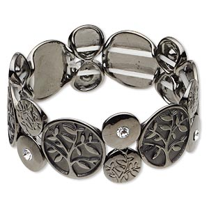 bracelet, stretch, swarovski crystals and gunmetal-plated pewter (zinc-based alloy), crystal clear, 24mm wide with flat round and tree of life, 6-1/2 inches. sold individually.