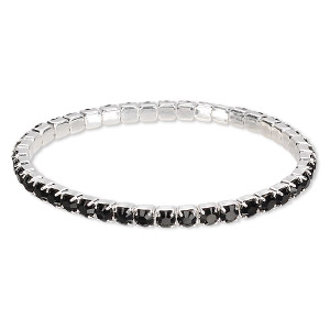 bracelet, stretch, swarovski crystals and silver-plated brass, jet, 4mm wide, 6-1/2 inches. sold individually.