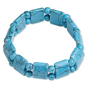bracelet, stretch, turquoise (imitation), blue, 6mm round and 15x12mm-16x13mm flat-sided rondelle, 7 inches. sold individually.