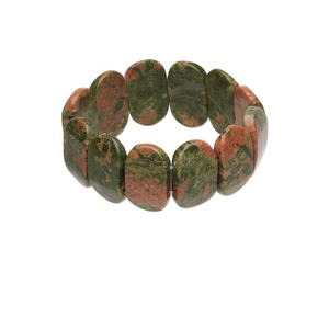bracelet, stretch, unakite (natural), mohs hardness 6-1/2 to 7. sold individually.