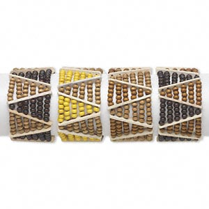 bracelet, stretch, wood (natural / dyed), multicolored, 5x4mm rondelle, 6-1/2 inches. sold per pkg of 4.