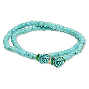 bracelet, stretch wrap, turquoise (imitation) / resin / glass, turquoise blue / green / yellow, 8mm rose, 7 inches. sold individually.