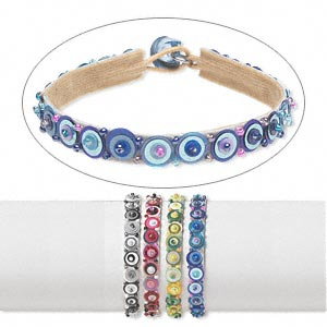 bracelet, velveteen / acrylic / czech glass, assorted colors, seed bead, 7 inches with button clasp. sold per pkg of 4.
