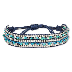 bracelet, waxed cotton cord / glass / silver-plated steel, turquoise blue and blue-green, 17mm wide, adjustable from 5-1/2 to 8 inches with macrame knot closure. sold individually.