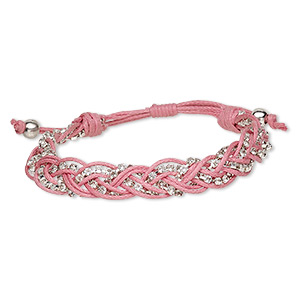 bracelet, waxed cotton cord / glass rhinestone / silver-finished brass, pink and clear, 13mm wide with cupchain, adjustable from 6-1/2 to 7-1/2 inches with wrapped knot closure. sold individually.