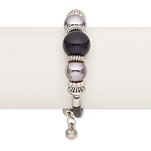 bracelet, wrap, acrylic / imitation leather / silver-finished steel / silver- / gunmetal-coated plastic, black, 18mm wide, adjustable from 6-1/2 to 8 inches. sold individually.