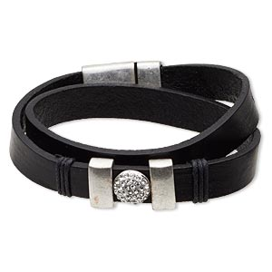 bracelet, wrap, leather (dyed) / swarovski crystals / antique silver-plated pewter (zinc-based alloy), black and crystal clear, 14mm wide, 6-1/2 inches with magnetic clasp. sold individually.