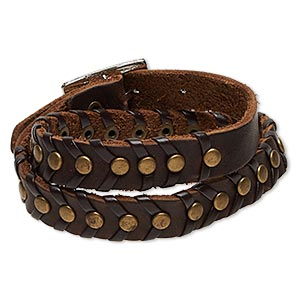 bracelet, wrap, leather (dyed) with antique brass-plated steel and pewter (zinc-based alloy), brown, 12mm wide with round studs, adjustable from 5-1/2 to 6-1/2 inches with buckle-style closure. sold individually.