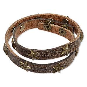 bracelet, wrap, leather (dyed) with antique brass-plated steel and pewter (zinc-based alloy), brown, 12mm wide with stars, adjustable at 6-1/2 and 7 inches with snap closure. sold individually.