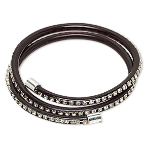 bracelet, wrap, pvc plastic / glass rhinestone / silver-finished brass, black and clear, 4mm wide with cupchain, adjustable from 7-9 inches. sold individually.
