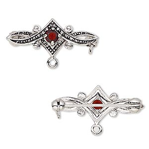 brooch, cubic zirconia and antique silver-plated bronze, garnet red, 28x11mm with 4mm faceted round and closed loop. sold individually.