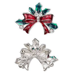 brooch, enamel / glass rhinestone / imitation rhodium-plated pewter (zinc-based alloy), green / red / clear, 39x30mm holly with bow. sold individually.
