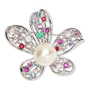 brooch, glass rhinestone / glass pearl / imitation rhodium-finished pewter (zinc-based alloy), multicolored, 43x37mm flower. sold individually.