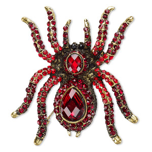 brooch, glass rhinestone and antique gold-finished pewter (zinc-based alloy), red / dark red / black, 60x55mm spider. sold individually.