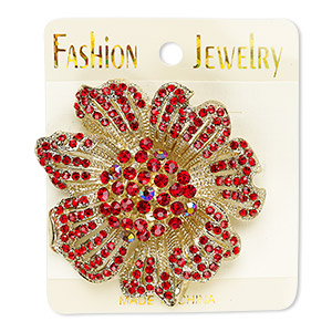 brooch, glass rhinestone and gold-finished pewter (zinc-based alloy), red ab and red, 58x57mm flower. sold individually.
