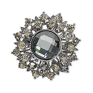 brooch, glass rhinestone with antique silver-plated brass and pewter (zinc-based alloy), smoky brown and grey, 36mm fancy round. sold individually.