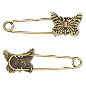 brooch pin, antique brass-plated pewter (zinc-based alloy), 2-1/4 x 3/4 inches with 22x16mm single-sided butterfly. sold per pkg of 2.