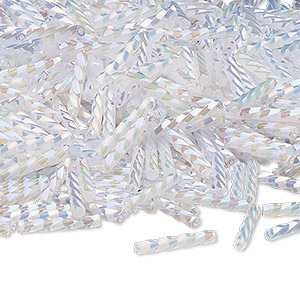 bugle bead, dyna-mites™, glass, opaque ceylon rainbow white, 12mm twisted. sold per 1/2 kilogram pkg.