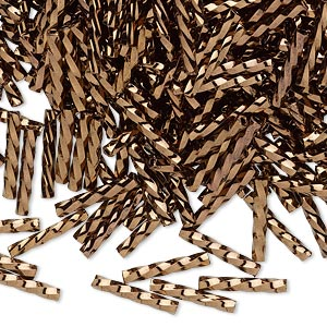 bugle bead, dyna-mites™, glass, opaque iris bronze, 12mm twisted. sold per 1/2 kilogram pkg.