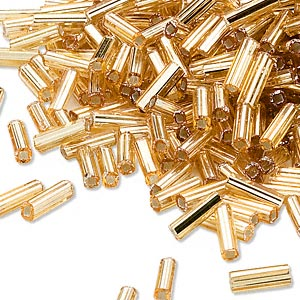 bugle bead, dyna-mites™, glass, silver-lined transparent gold, #3 square hole. sold per 35-gram pkg.