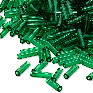 bugle bead, dyna-mites™, glass, transparent emerald green, #3. sold per 35-gram pkg.