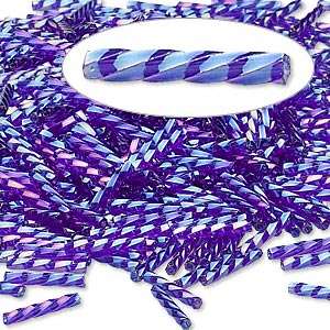 bugle bead, dyna-mites™, glass, transparent rainbow dark blue, 12mm twisted. sold per 50-gram pkg.