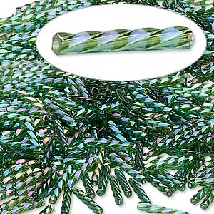 bugle bead, dyna-mites™, glass, transparent rainbow olive green, 12mm twisted. sold per 50-gram pkg.