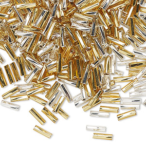 bugle bead, glass, silver-lined translucent gold and clear, #2 to #4 twisted. sold per 16-gram vial.