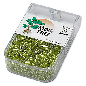 bugle bead, ming tree™, glass, silver-lined translucent lime green, 1/4 inch. sold per 1/4 pound pkg.