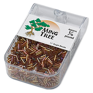 bugle bead, ming tree™, glass, transparent rainbow brown, 1/4 inch. sold per 1/4 pound pkg.