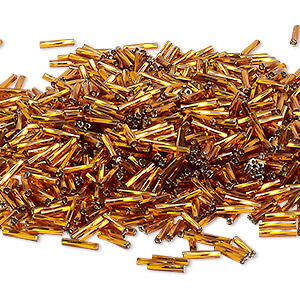 bugle bead, miyuki, glass, silver-lined translucent root beer, (tw5), 9x2mm twisted. sold per 50-gram pkg.